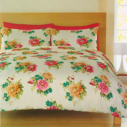 Catherine Lansfield Mia Multi Floral Pink Single Duvet Quilt Cover Bedding Set