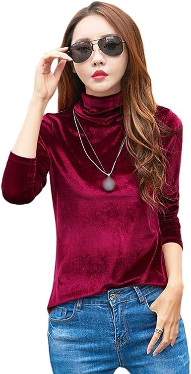 JEELINBORE Blusas de Terciopelo de Cuello Alto para Mujer Pullover de Manga Larga Color sólido Camiseta Básica Tops