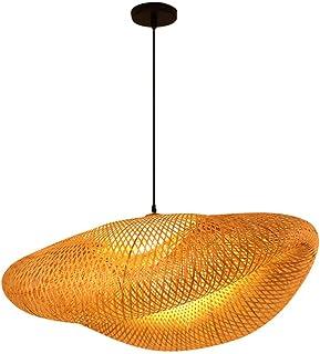 PIXNOR Lámpara de Araña de Bambú Luz Antigua Única Lámpara de Ratán Jaula Sombra Techo de Madera Accesorio Colgante con Fuente de Luz para Comedor Sala de Estar Restaurante