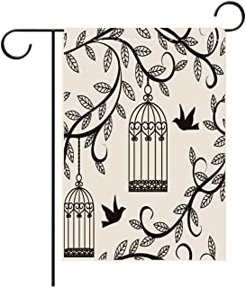 Double Sided Flag Garden Flag Holiday Decoration Birds Ornate Cages with Branch of Tree Silhouette and Birds Floral Modern Artistic Print Blue Outdoor Party Yard Flags, Decorative House Yard Flag
