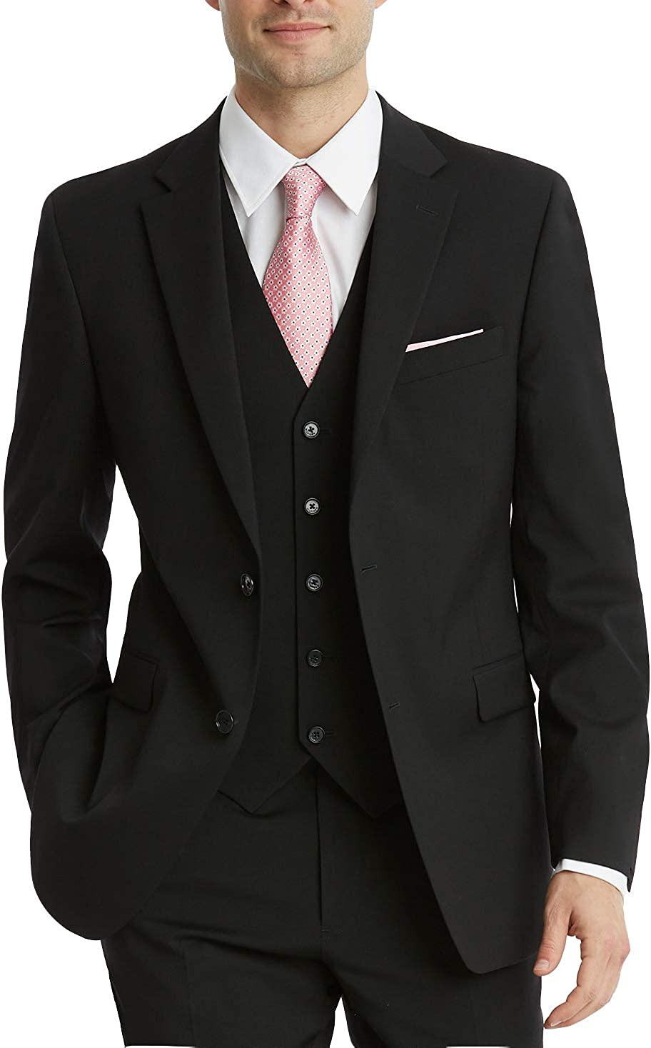 Statement Men's Modern Fit Single Breasted 3-Piece Wool Suit Set - Colors