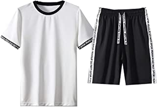 Mogogo Men's Active Slim Short Sleeve Crew-Neck Tees Top Tracksuit Outfit