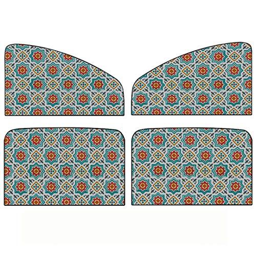 Auto Seitenfenster Sonnenschirm, 4 Stück Muster Geometrische Ramadan Muslim Celebration Gruß Universal Magnetvorhang Mit Sonnenschutz, maximal Schützen Sie Ihr Baby, Kinder und Haustiere fit für die