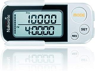 NAKOSITE Ruta Perfecta es un Podómetro en 3D con Correa y Fijador, Contador de Pasos Basado en Precisión, Calculadora de Distancia Corta (Kilómetros y Millas), Monitorización de Calorías Quemadas, Modo Ejercicio, Rastreador de Rendimiento Diario, Memoria Diaria de 30 Días, Dispositivo Construido con Tecnología Tri -Axis (Basada en Sensores), Acabado Blanco y Fácil Lectura Digital del Monitor - BONO: Libro Electrónico Gratis + 365 Días de Garantía.