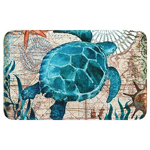 Uphome Sea Theme Foam Bath Mat Blue Turtle Rubber Non Slip Bathroom Rugs Flannel Coastal Navigation Map Bath Rug for Shower Floors, Summer Ocean Life Bathroom Decorations, 20x31