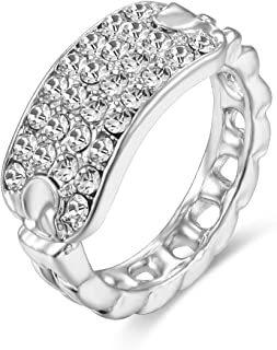 Poem&Future Women's Alloy Crystal ID Ring Personalized Bar Style Cute Cocktail Stretch Ring