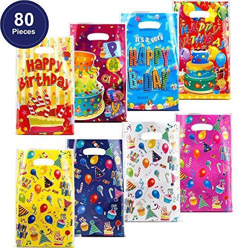 Outus Bolsas de Regalo de Cumpleaños de Plástico de 80 Piezas. Bolsas de Regalo de Cumpleaños para Niños Favores de Fiesta de Cumpleaños, Pastel y Globos