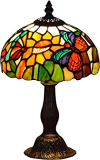 NOSHY UT08001 Premium Tiffany Style Butterfly Stained Glass Floral Sunflower Table Lamps, Multicolor, 8-Inch Diameter, 13.5-Inch Height, 1-E12 Lamp Socket, Pack of 1(Does Not Include Bulbs)