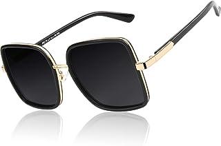 GQUEEN Women Oversized Square Frame Sunglasses Multiple Tinted Glitter Designer Inspired Stylish Shades S904