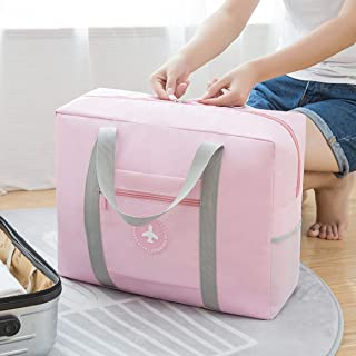 Traveling Bag Foldable Travel Bag Luggage Bag Light Weight Waterproof Duffel Bag for Sports, Vacation, Gym. (Pink)