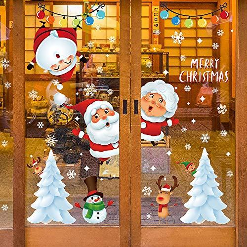 O-Kinee Natale Adesivi Vetro, Natale Vetrofanie, Natale Adesivi Porta, Finestre Adesivo Babbo Natale Pupazzo di Neve Alce Natale Adesivi, Rimovibile Murali Fai da Te Sticke Statico Natale Adesivi.