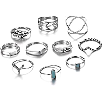 Gmai Bohemian Vintage Women Crystal Joint Knuckle Nail Ring Set of 10 pcs Finger Rings Punk Ring Gift
