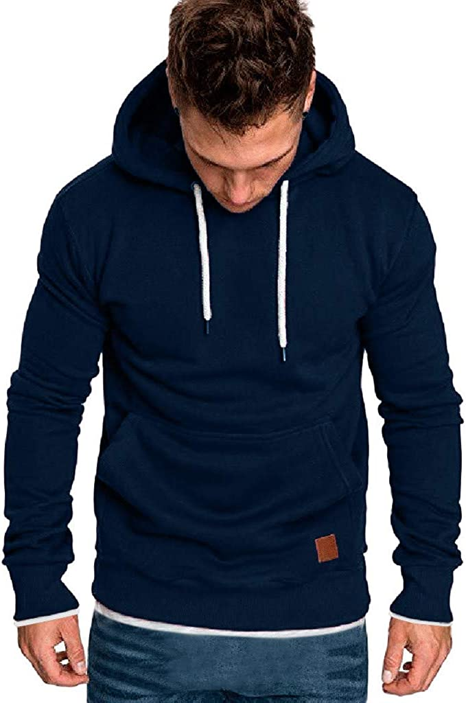 iCJJL 2021 Fashion Hoodie for Men, Casual Long Sleeve Slim Fit Hooded Pullover Sweatshirt Fall Warm Outwear with Pocket