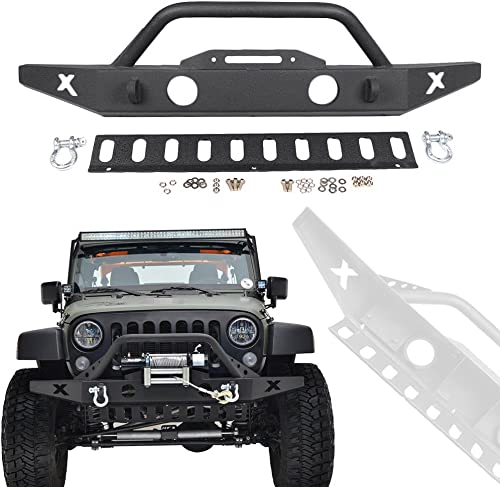 2021 Mallofusa Front Bumper Compatible for Jeep Wrangler JK 07-18, Rock Crawler Front Bumper with Skid Plate & Fog Lights Hole outlet sale & online sale 2x D-Ring & Winch Plate, Black Textured outlet sale