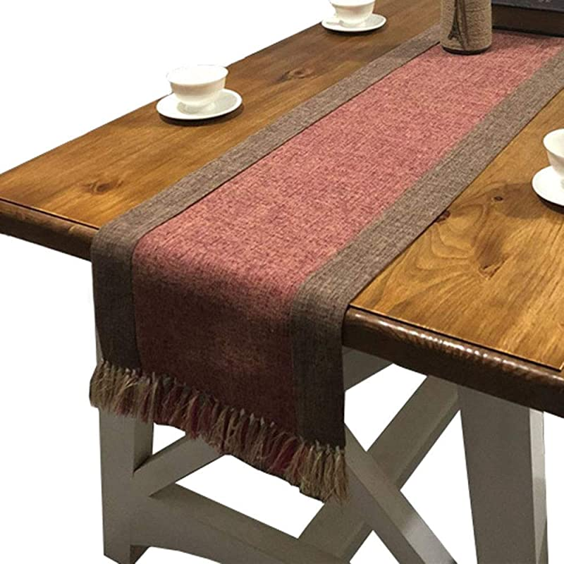 PHNAM Table Runner With Tassels 72 Inches Long Linen Cotton Coffee Dining Table Cloth Runners Non Slip For Home Kitchen Party Wedding Decorations Machine Washable Red 15 X 72 Inches