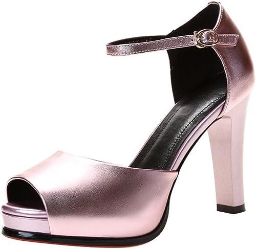 ADD Chaussures pour Femmes, Bouche de Poisson, Talons Fins, Talons Hauts, moraillon, Sandales à la Mode (Couleur   Rose, Taille   36)