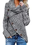 FIYOTE Damen Winterjacke Warm Strickjacke Rollkragen Cardigan Strickpullover Casual Wrap Wickel Pullover Sweater 7 Farbe S/M/L/XL/XXL, 1-grau, XXL