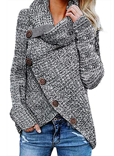 FIYOTE Damen Winterjacke Warm Strickjacke Rollkragen Cardigan Strickpullover Casual Wrap Wickel Pullover Sweater 7 Farbe S/M/L/XL/XXL, 1-grau, S