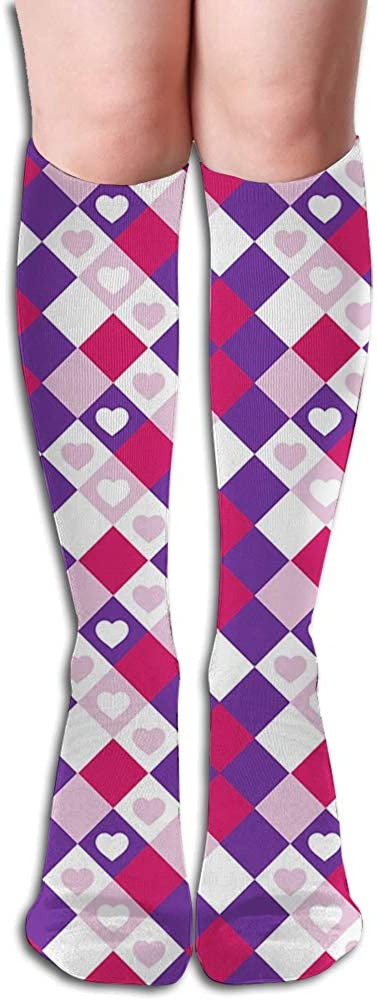 Men's and Women's Funny Casual Combed Cotton Socks,Geometric Themed Pattern of Sweet Hearts in Tiny Squares