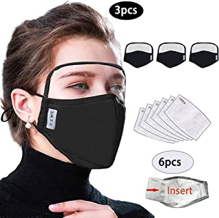 Cotton Outdoor Haze Dust Face Health Protection Reusable Face Macks with Eyes Bandana + Activated Carbon Filter Replaceable Filters (Black, 3pcs + 6pcs Filter, for Adult)