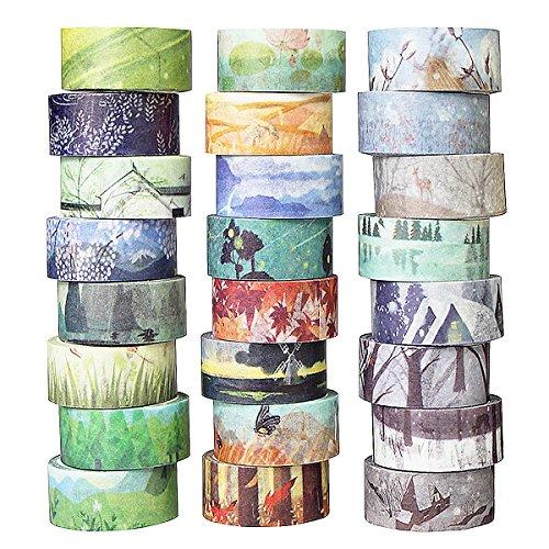 QINGKONG 24er Washi Tapes Dekoband Masking Tape Klebeband Verschiedene Jahreszeiten Vorlagen Design für DIY Craft Scrapbooking Geschenkpapier
