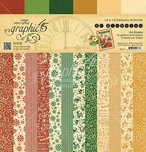 Graphic 45 4501411 St Nicholas 12 x 12 Patterns & Solids Pad