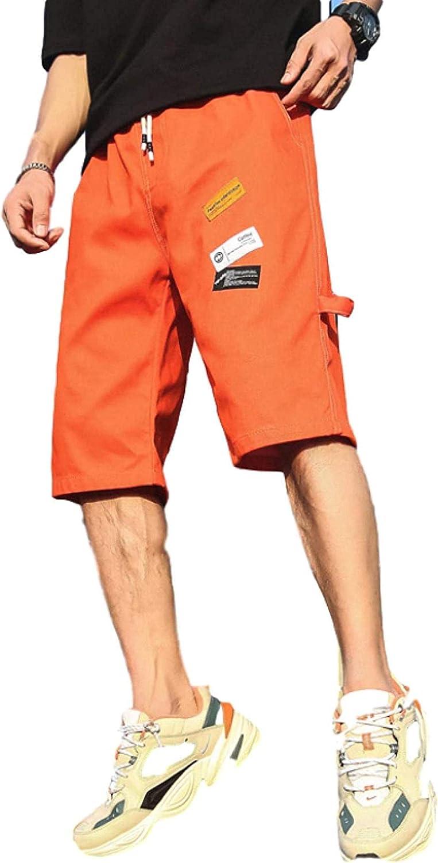 LLTT Men's Straight Denim Shorts Loose Fit Comfortable Breathable Fashion Patch