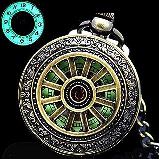 YIWMHE Luminosa Bobina de la Mano del Reloj de Bolsillo mecánico clásico Calados Pendiente de Bronce Cubierta Hueco de la ...