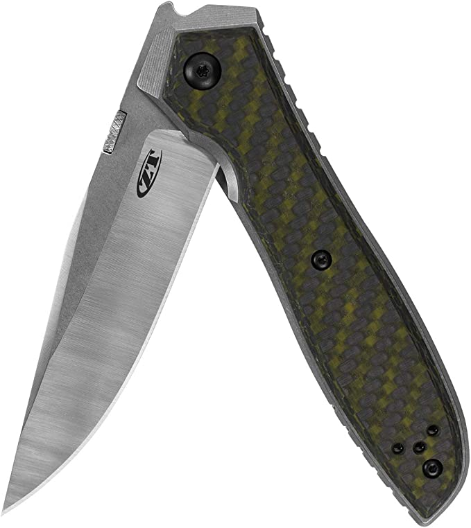 Zero Tolerance Emerson CF Pocketknife; 3.75 Inch CPM 20CV Steel Blade, Machined and Stonewashed Titanium with Green Carbon Fiber Overlay, Manual Opening, Every Day Carry Knife, Made in USA (0640)
