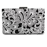 Shiratori Retro Lace Flower Embroidery Black Elegance Women Clutch Bag Lady Evening Cocktail Party Purse,Silver