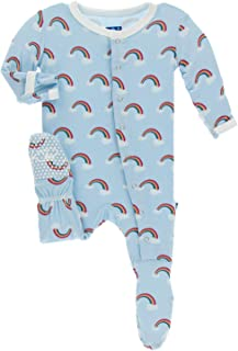 KicKee Pants Print Footie with Snaps (9-12 Months, Pond Rainbow)