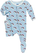 KicKee Pants Print Footie with Snaps (6-9 Months, Pond Rainbow)