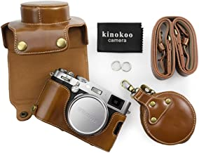 kinokoo Leather Camera Case for Fujifilm X100F and 23mm lens with shoulder strap storage bag and cleaning cloth  brown