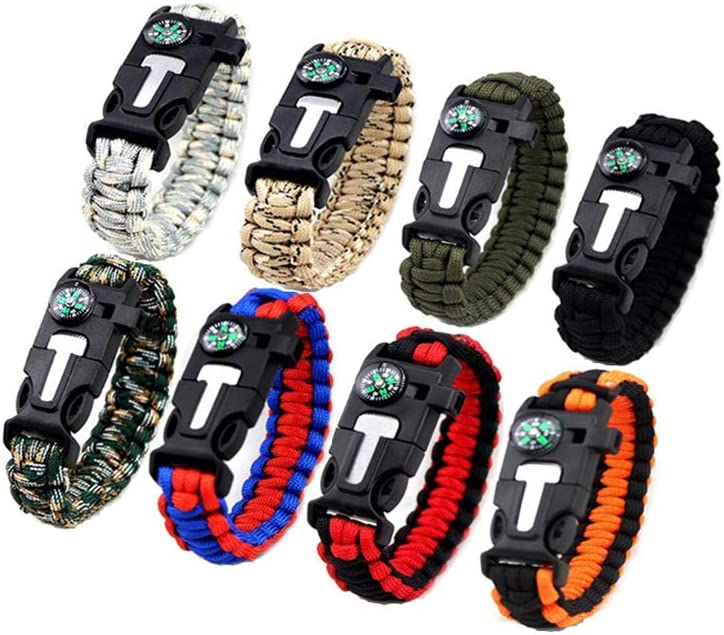 Kissmi 8 Pack Paracord San Francisco Mall Shipping included Bracelet with Survival Fire Compass Gear