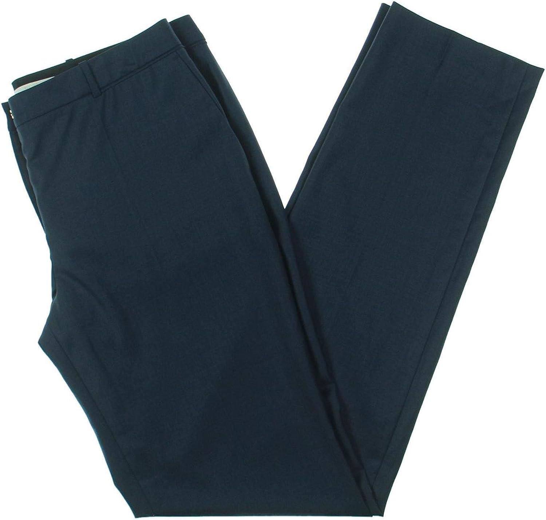 BOSS Hugo Boss Womens Tamea Wool Knit Straight Leg Pants Navy 12