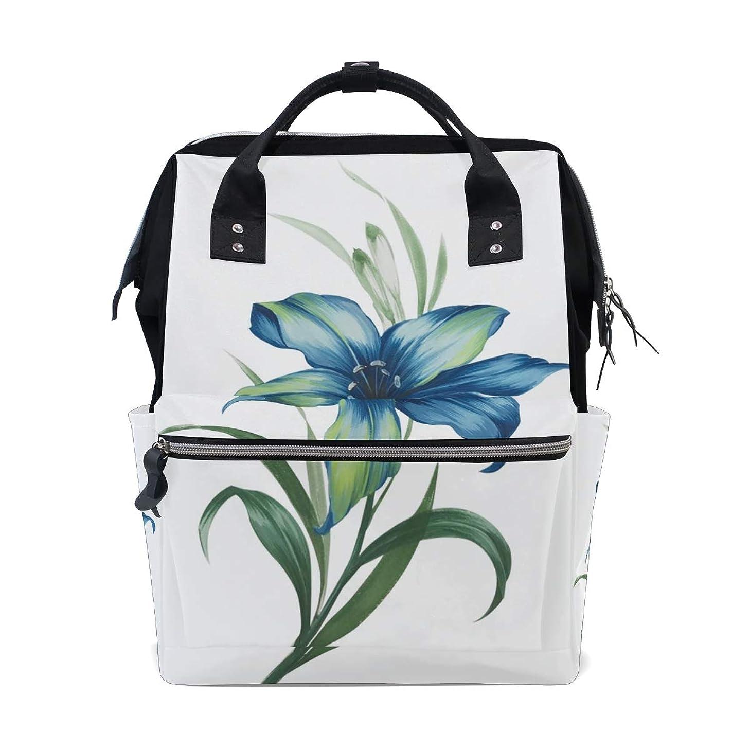 Backpack Blue Watercolor Flower Vintage School Rucksack Diaper Bags Travel Shoulder Large Capacity Bookbag for Women Men