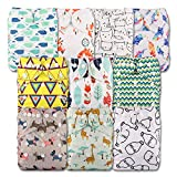 Littles and Bloomz, Reusable Pocket Cloth Nappy, Fastener: Popper, Set of 10, Patterns 1003, Without Insert
