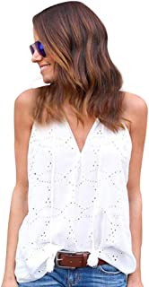 HGWXX7 Women's Casual Solid Sleeveless V-Neck Hollow Cotton Blouse Tank Tops