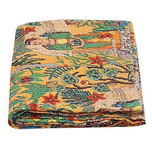 indischen floral print Kantha Bohemian Tagesdecke, Kantha Decke, Bohemian Betten, AC Steppdecke, AC Tröster, Janki Creation (90x 108) Zoll