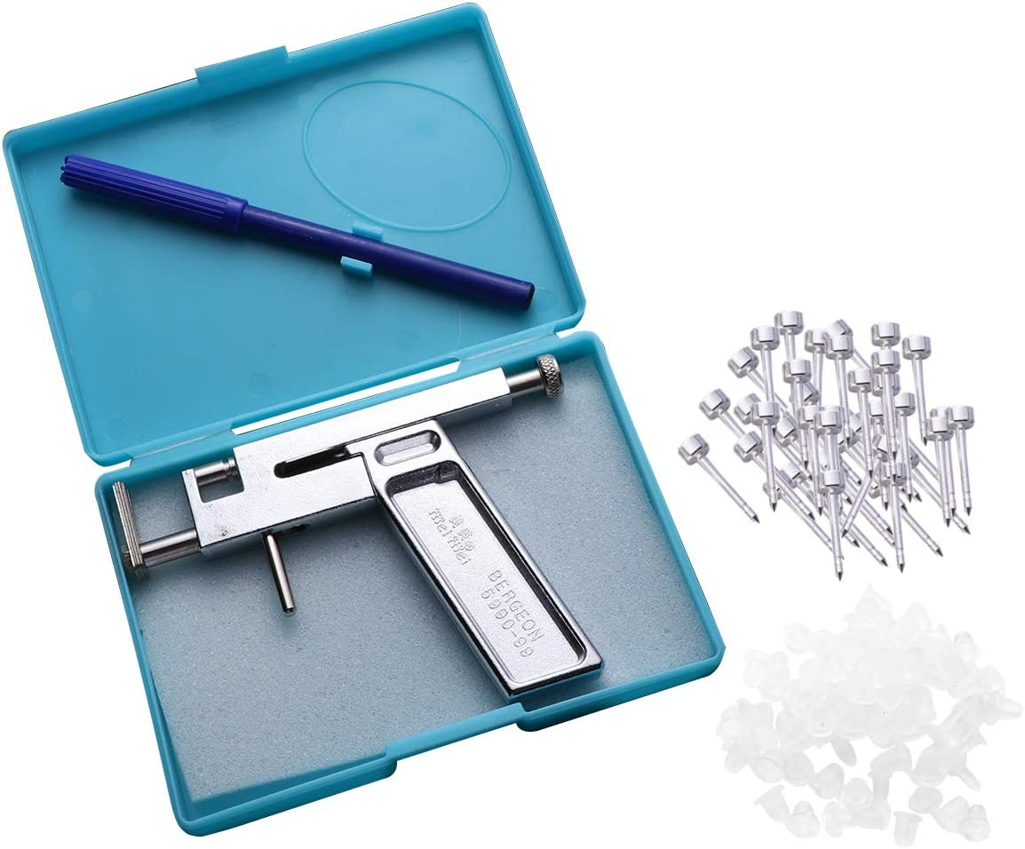 ROSENICE Cuerpo del oído que perfora el kit de herramientas del arma con los pernos prisioneros plateados plata del oído 80pcs