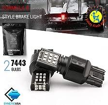 Red Flashing Strobe Blinking Rear Alert Safety Brake Tail Stop High Power LED Light Bulbs (7443, Red-Strobe)