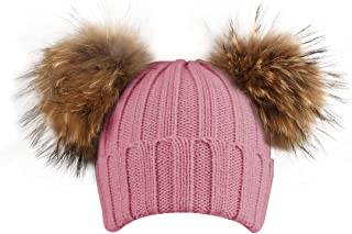 KPWIN Toddler Kids Baby Girls' Pom Pom Ears Chunky Thick Stretchy Cable Knit Soft Winter Beanie Hat