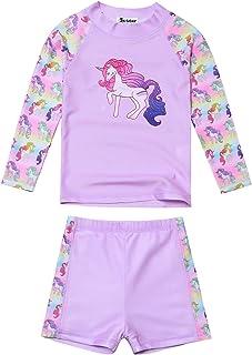 ملابس سباحة للبنات من Jxstar Rash Guard قطعتين بتصميم وحيد القرن/حورية البحر UPF 50+ UV