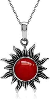 8mm Cabochon Gemstone 925 Sterling Silver Sun Ray Inspired Pendant with 18 Inch Chain Necklace