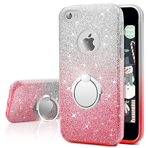 iPhone 4S Case, iPhone 4 Case, Silverback Girls Bling Glitter Sparkle Cute Phone Case with 360 Rotating Ring Stand, Soft TPU Outer Cover + Hard PC Inner Shell Skin for Apple iPhone 4S / 4 -Ombra Pink