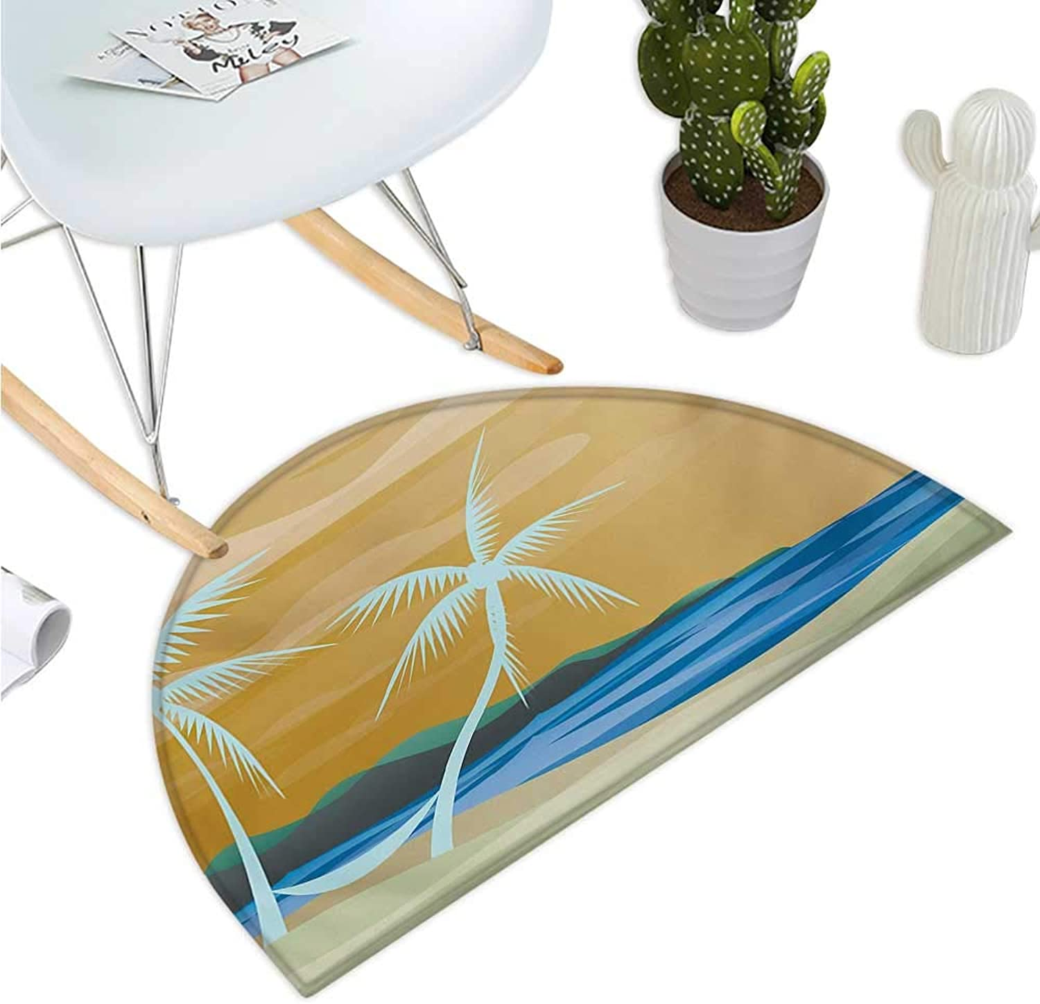 Beach Semicircular Cushion Illustration of Hammock in The Tropical Sandy Beach with Exotic color Ocean Print Entry Door Mat H 43.3  xD 64.9  Navy Cream