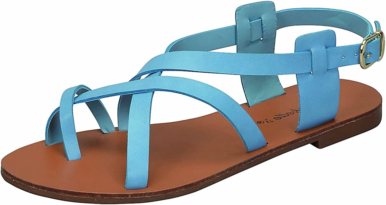 Breckelles Women's Strappy Gladiator Ankle Wrap Flat Sandal