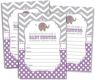 50 Baby Shower Elephant Invitations and Envelopes, Jungle, Baby Shower Invites Girl, Baby Girl Shower Invitations, Baby Invitations, Neutral Baby Shower - Purple (Large Size 5x7)