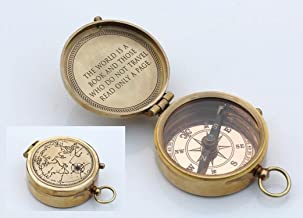 ROORKEE INSTRUMENTS (INDIA) A NAUTICAL REPRODUCTION HOUSE Best Gift for Traveler Man The World is a Book. Quote Solid Brass Compass with Leather Case