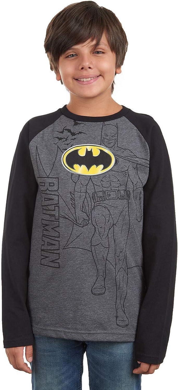 BATMAN Boys DC Comics Classic Logo Soft Raglan Pullover Long Sleeve T-Shirt